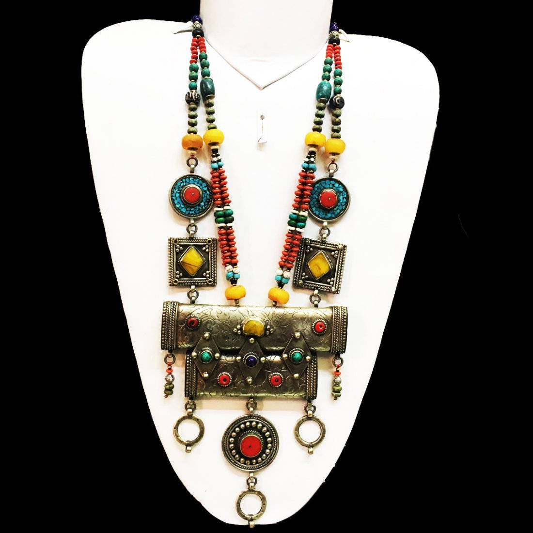 Turquoise & Amber Hand Carving Tribal handmade Necklace