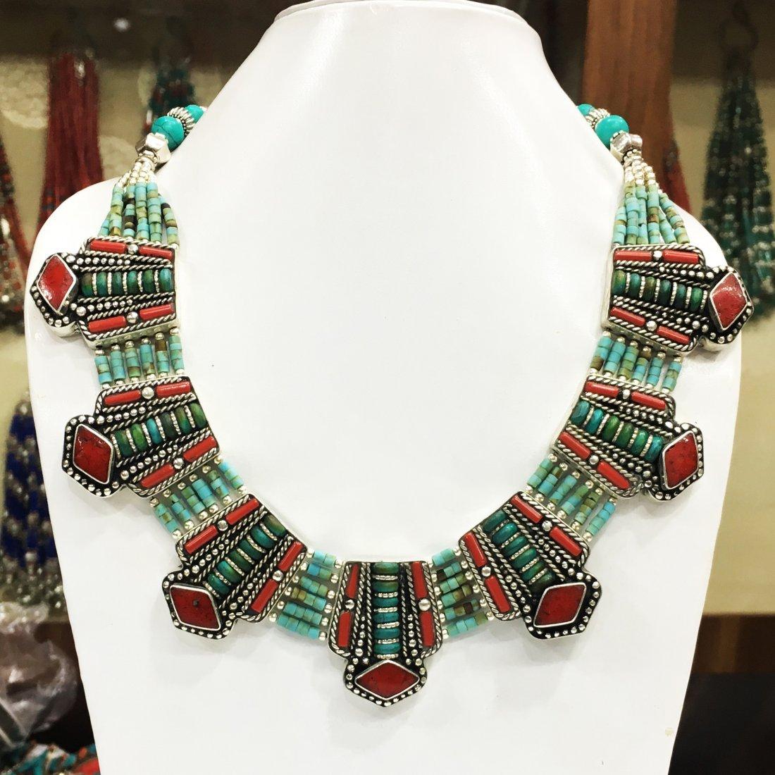 Tibetan Turquoise Beads Handmade Statement Necklace