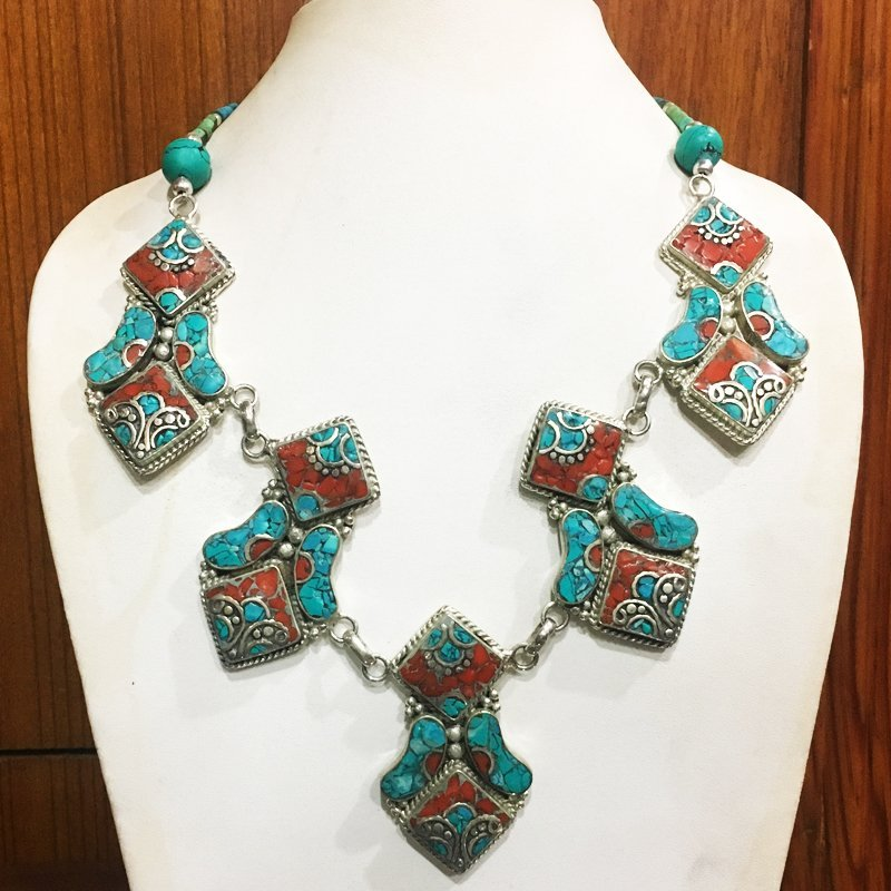 Tibetan Turquoise & Coral Handmade Choker Necklace