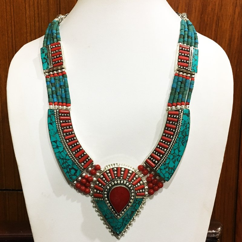 Tibetan Turquoise Coral Mexican Tribal Vintage Necklace