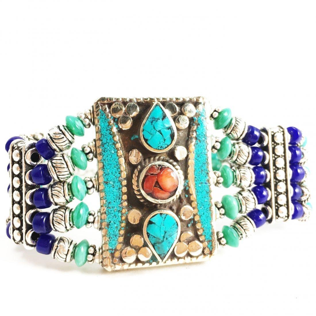 Tibetan Buddhist Turquoise & Coral Vintage Bracelet