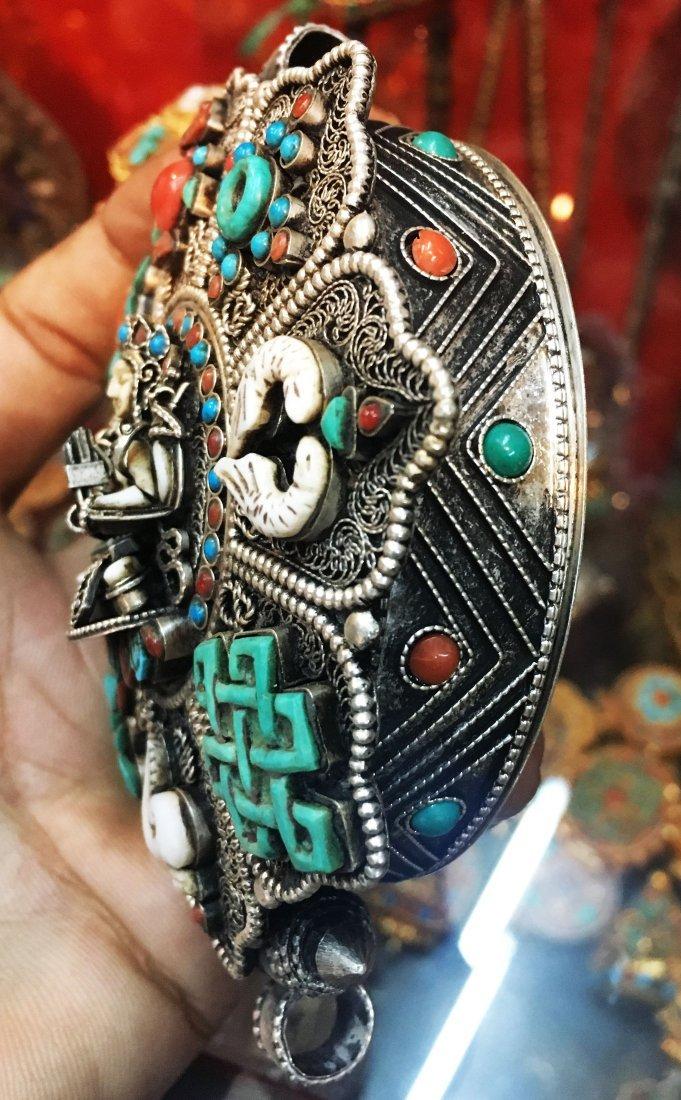 925 Sterling Silver Ghau Tibetan Prayer Box Pendant - 2