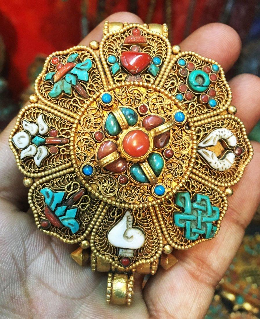 925 Sterling Silver Ghau Tibetan Prayer Box Pendant