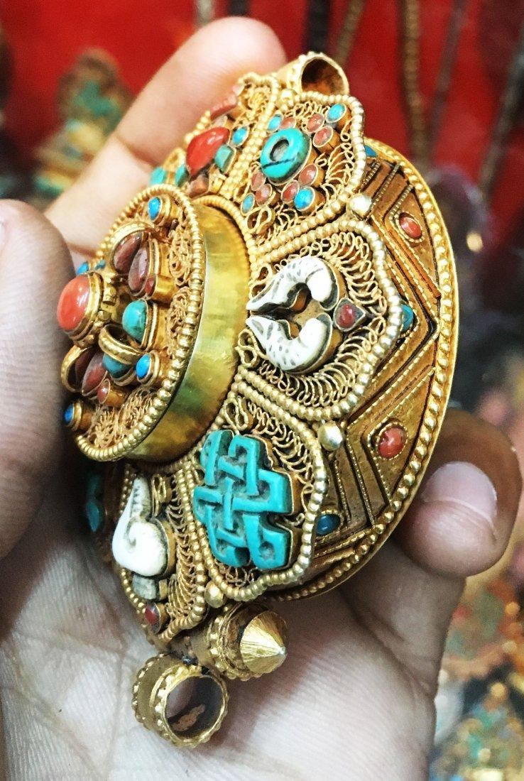 925 Sterling Silver Ghau Tibetan Prayer Box Pendant - 3