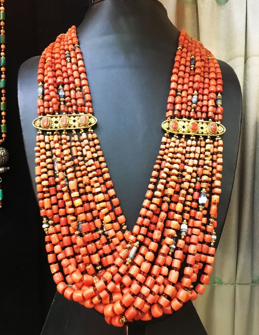 1900 Antique Tibetan Coral with Gold Necklace