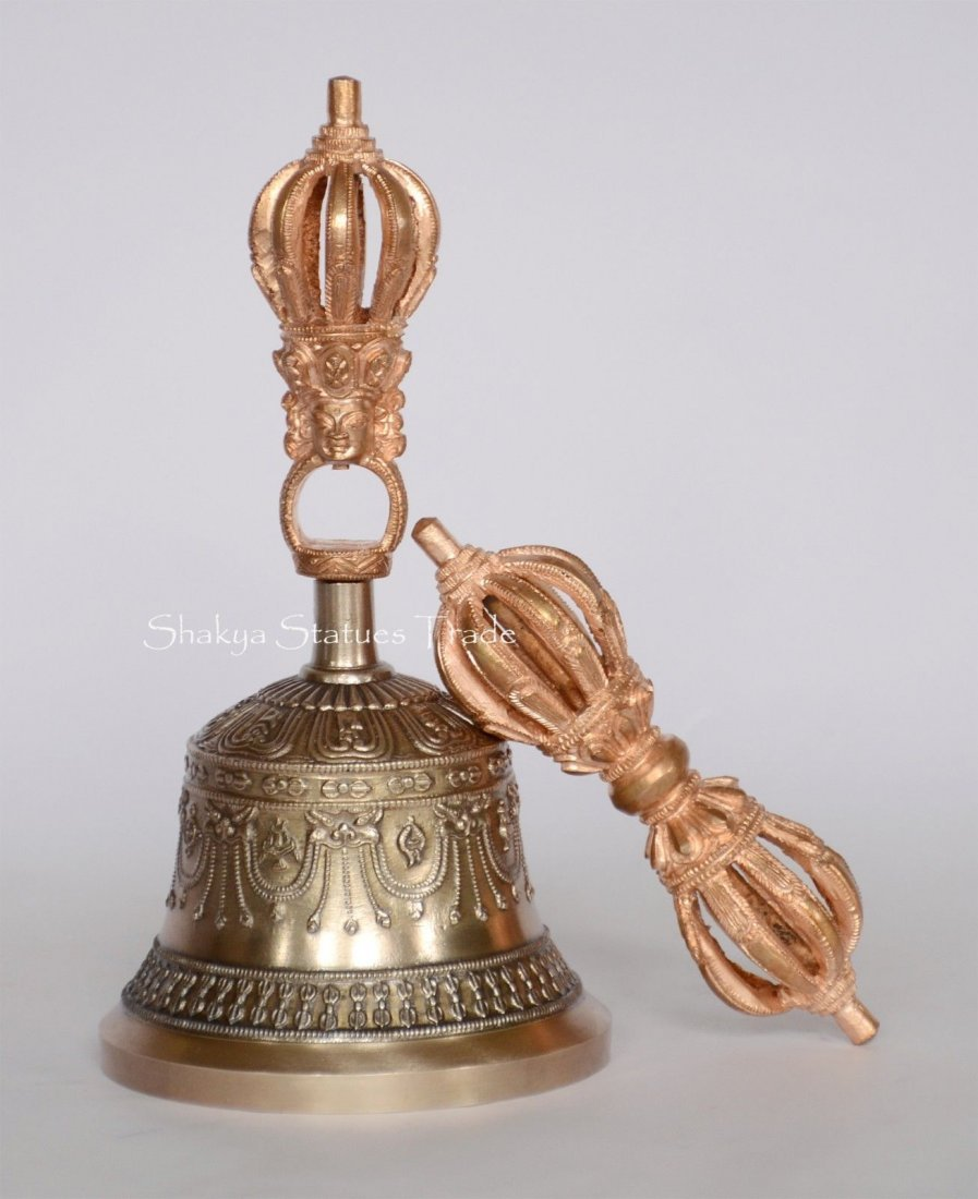 "Tibetan Buddhsit 7.5"" Vajra & Bell Set Copper & Bronze"