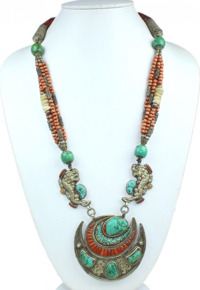 Tibetan Buddhist Turquoise & Coral Necklace