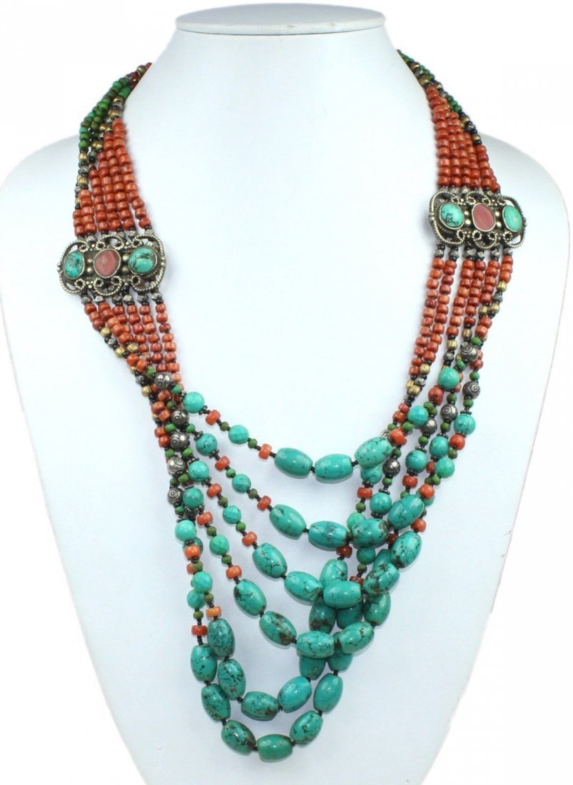 Nepali Tibetan Turquoise Coral Mexican Necklace