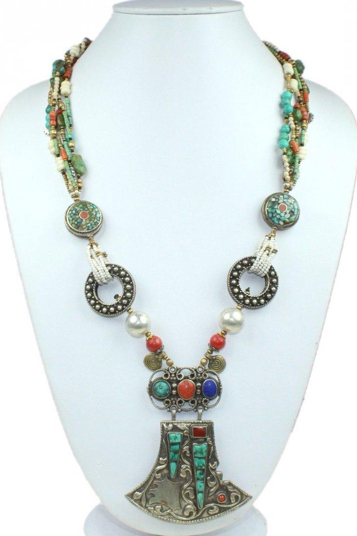 Turquoise & Lapis Tibetan Silver Handmade Necklace