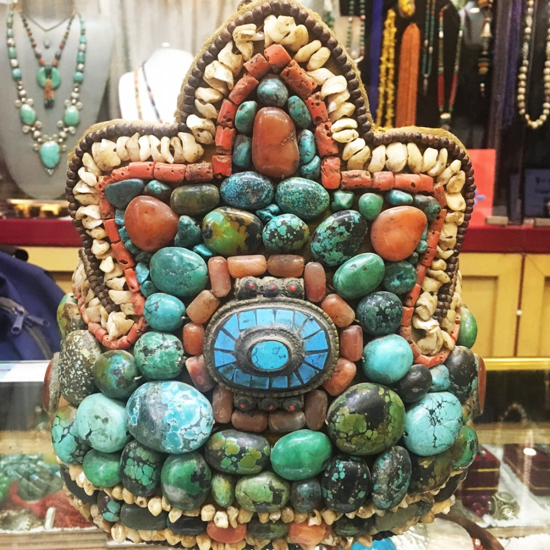 1900's Tibetan Antique Turquoise & Coral Ceremonial hat
