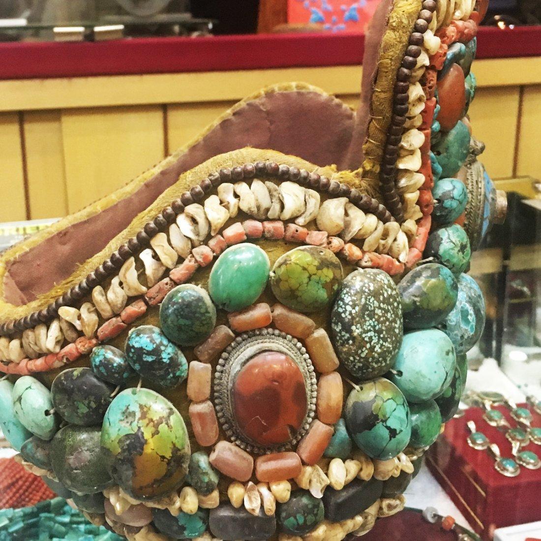 1900's Tibetan Antique Turquoise & Coral Ceremonial hat - 2