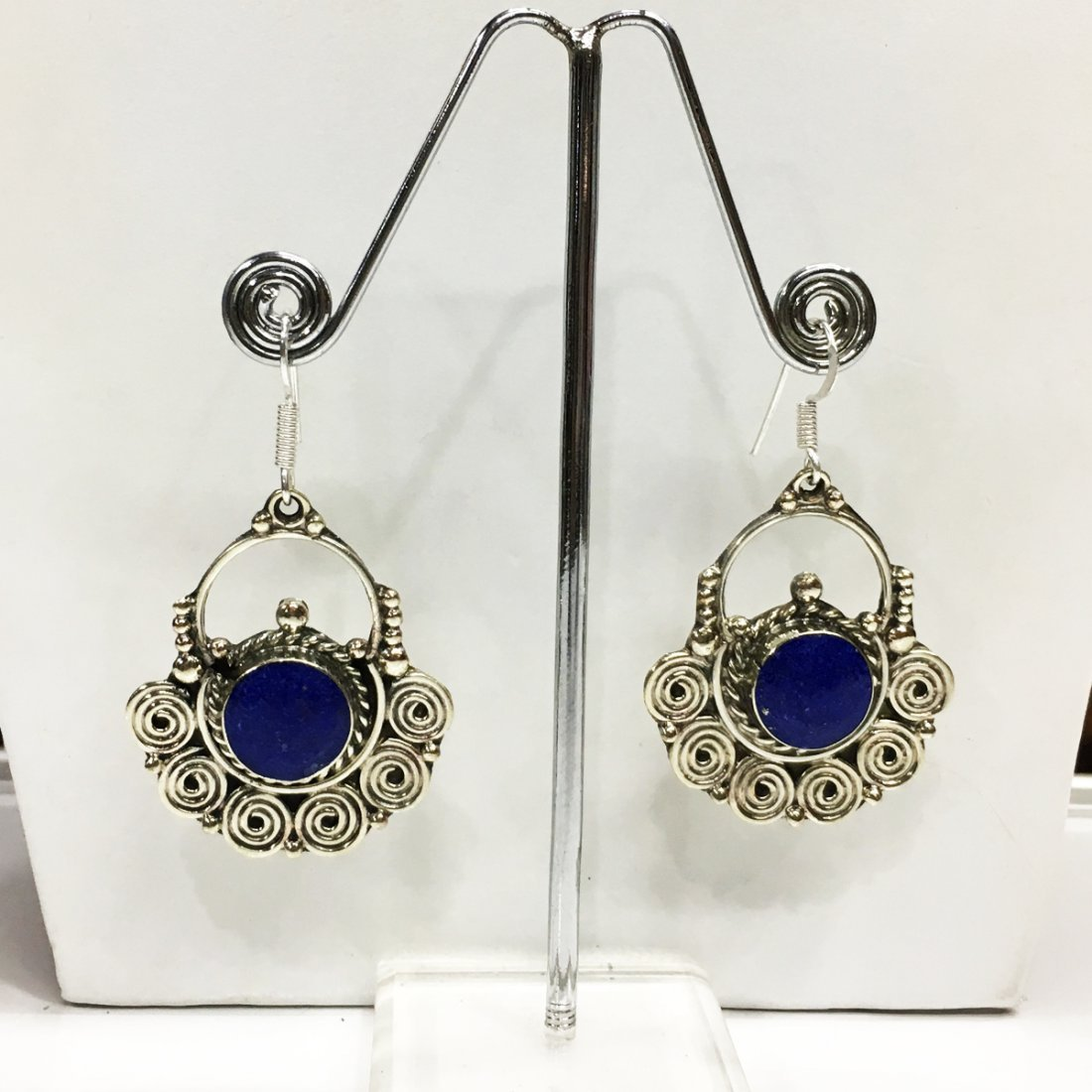Tibetan Silver Lapis Inlay Women's Earring