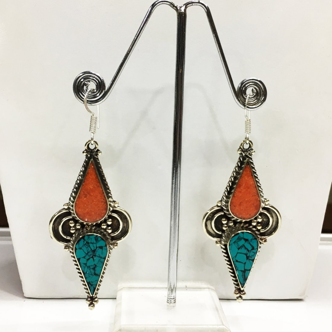 Buddhist Turquoise Vintage Tibetan Nepali Earring