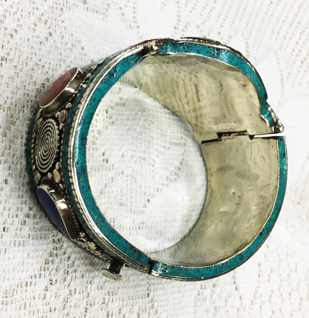 Turquoise Coral Mexican Choker Bangle - 2