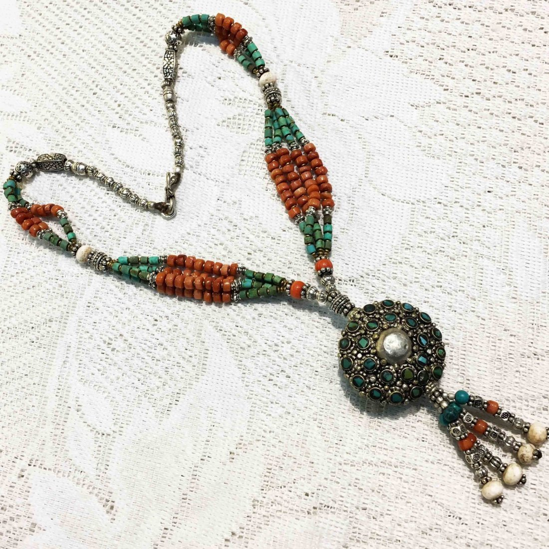 Bohemian Turquoise & Coral Tibetan Silver Necklace