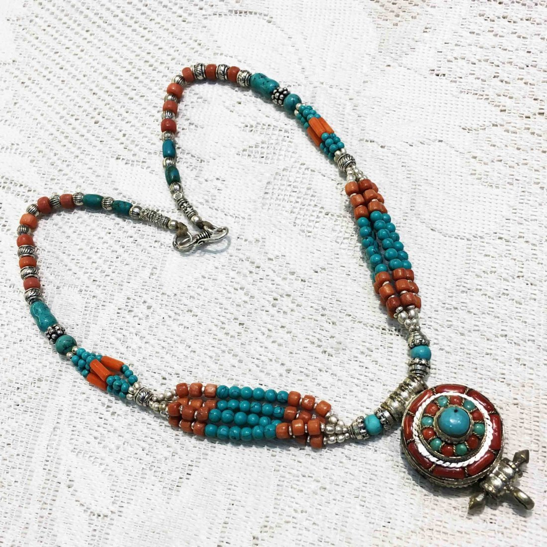 Ethnic Jewelry Vintage Lapis & Coral Necklace