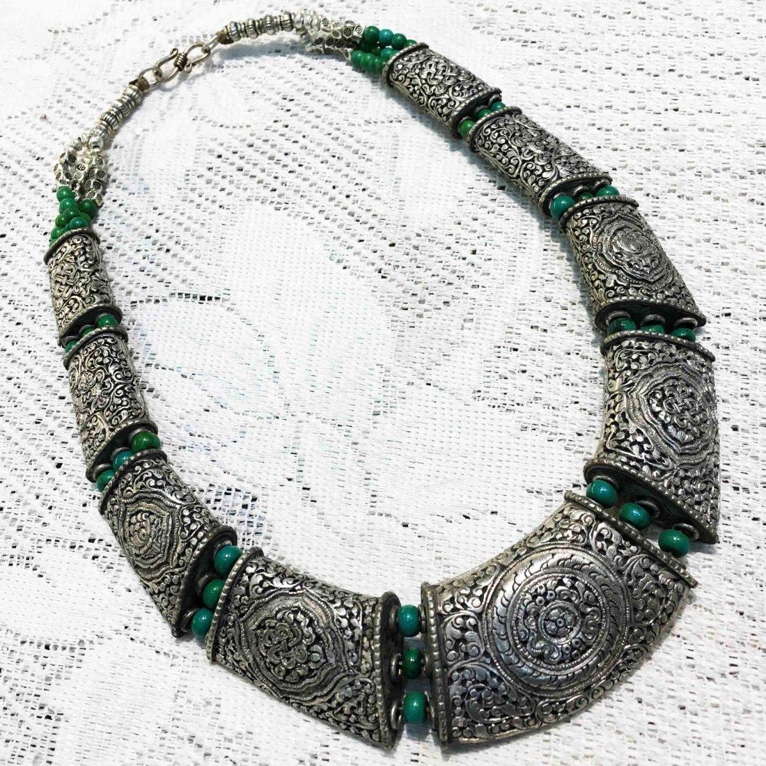 Hand Carved Tibetan Silver Metal Handmade Necklace