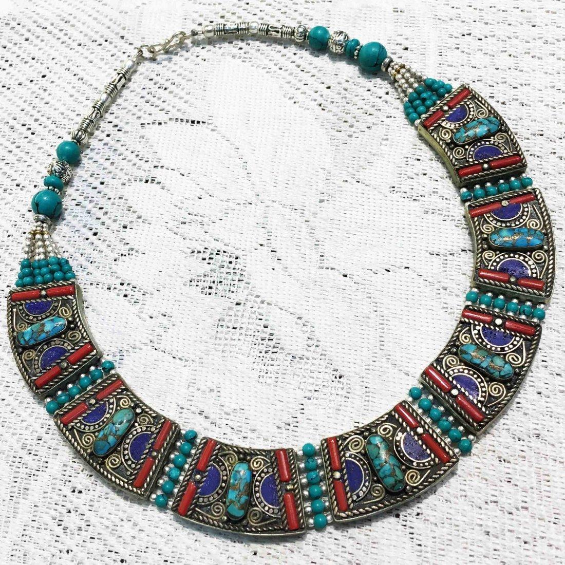 Handmade Tibetan Turquoise & Coral Necklace