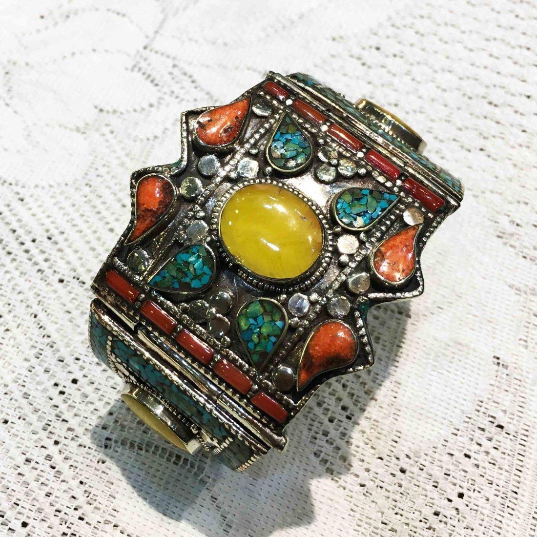 Tibetan Turquoise, Coral & Amber Handmade Cuff Bangle