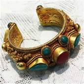 Hand Carved Vintage Gold plated Cuff Bangle