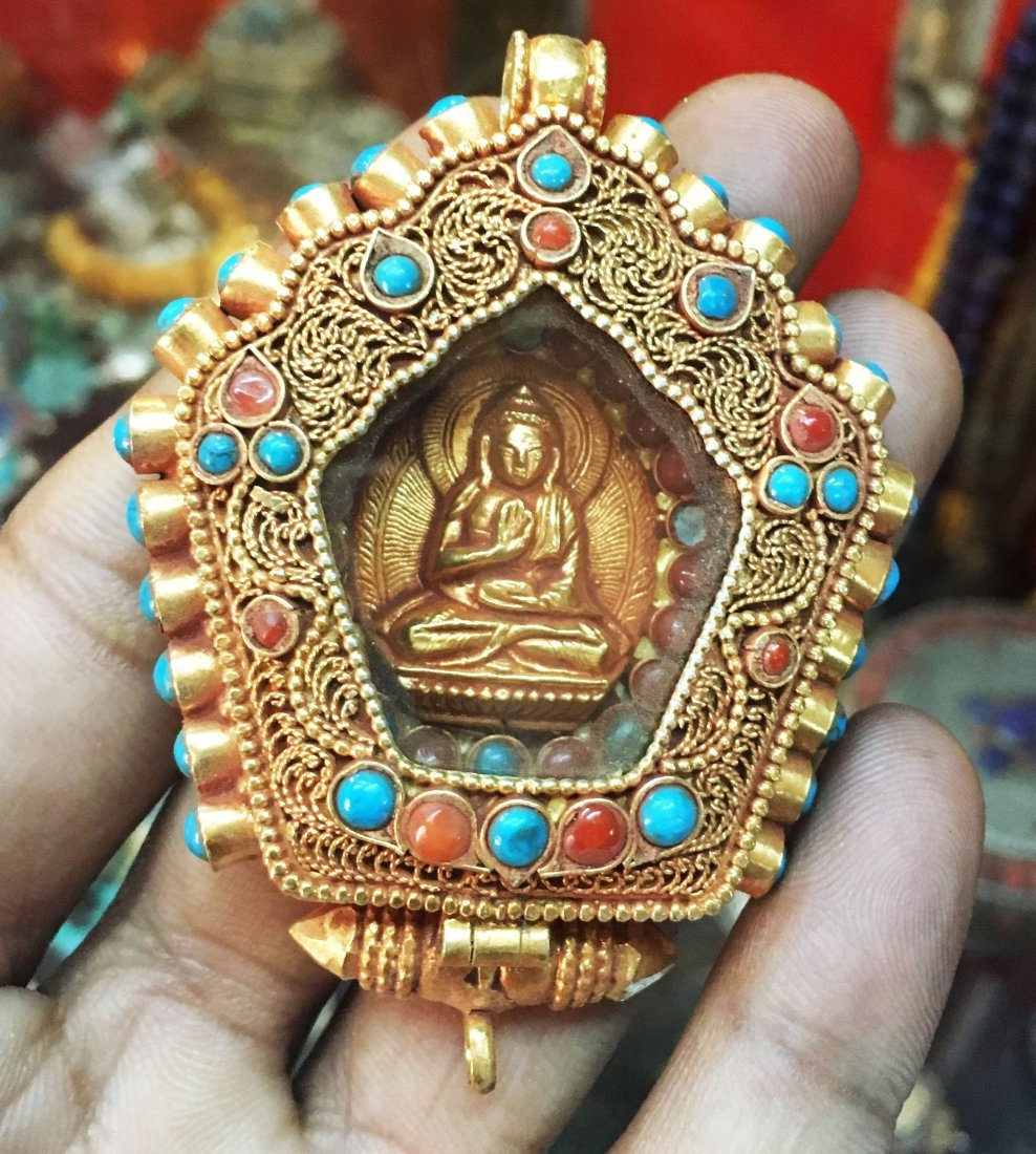 Buddha Sterling Silver Ghau Tibetan Prayer Pendant