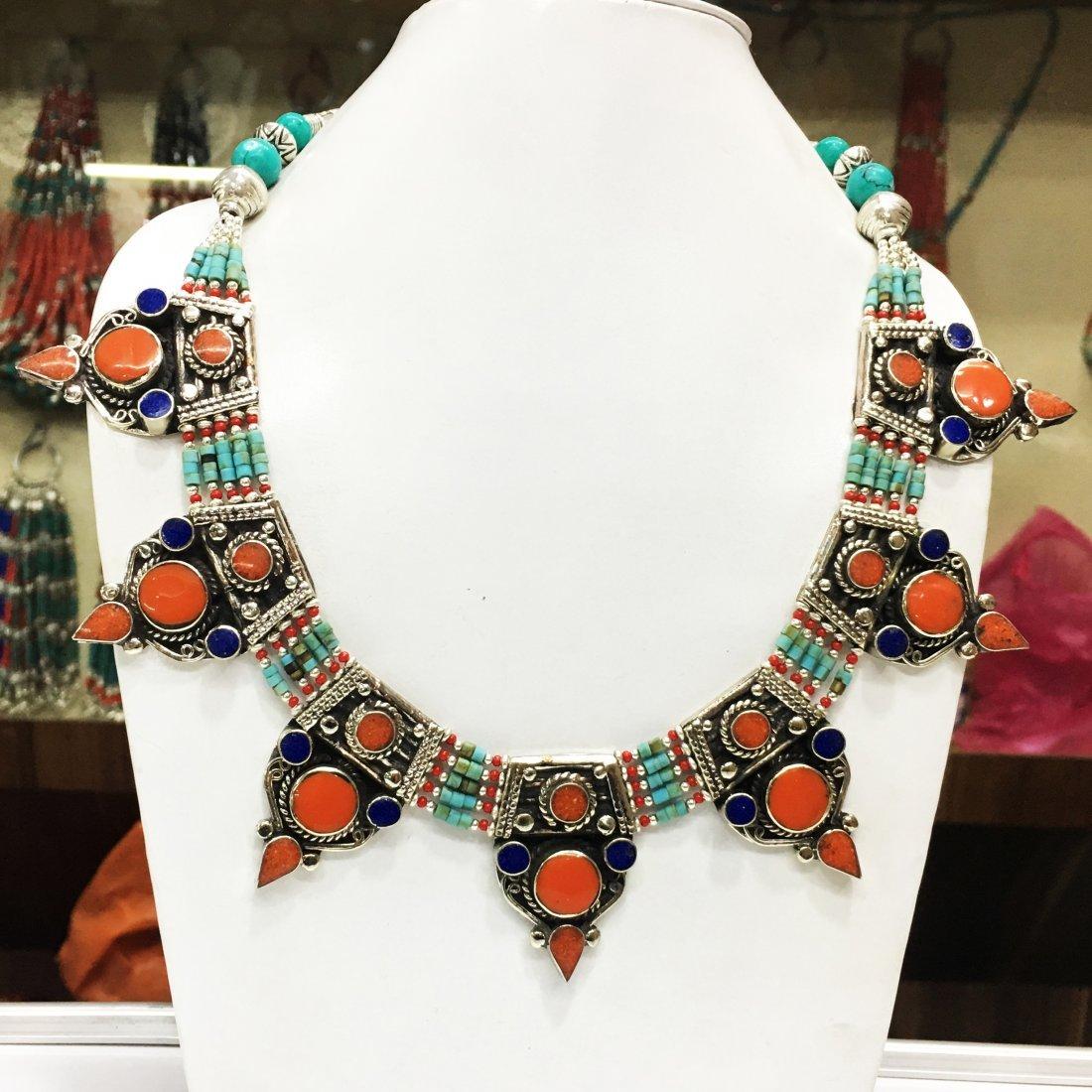 Tibetan Tribal Ethnic Tibetan Silver Necklace