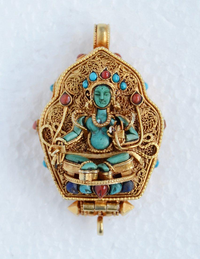 Green Tara Ghau 925 Sterling Silver Buddhist Prayer box