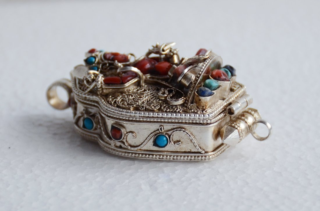 Manjushri Ghau 925 Sterling Silver Buddhist Prayer box - 4