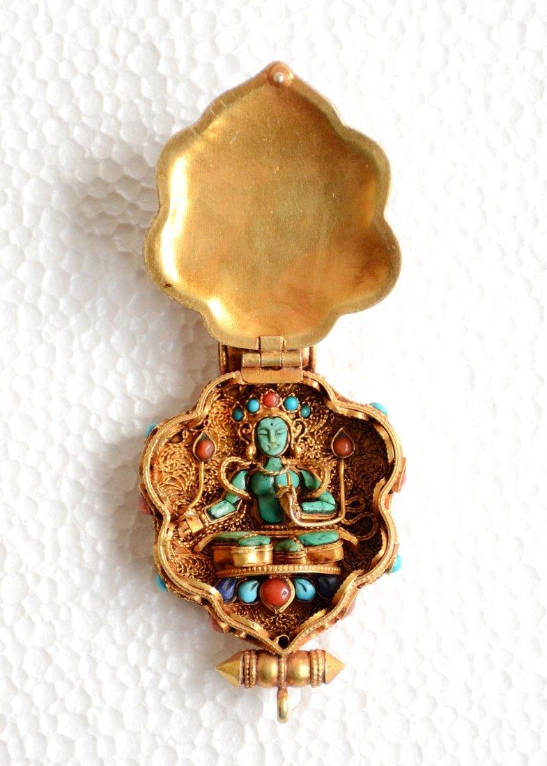 Manjushri Ghau 925 Sterling Silver Buddhist Prayer box - 3