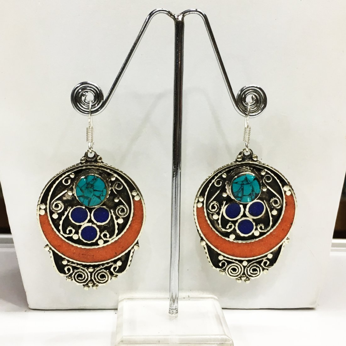 Turquoise & Coral Antique Handmade Earring