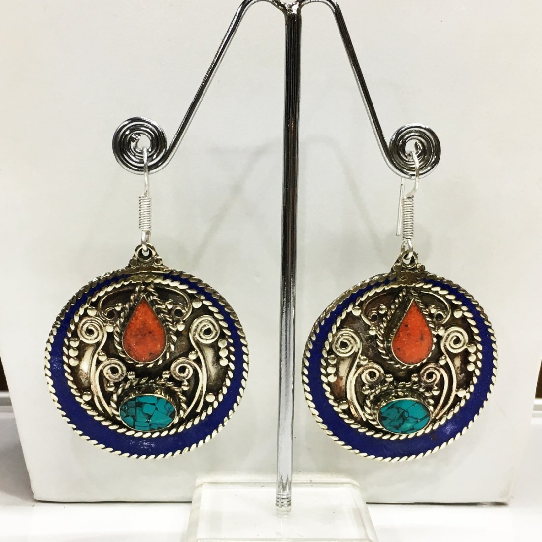 Tribal Turquoise & Coral Handmade Earring