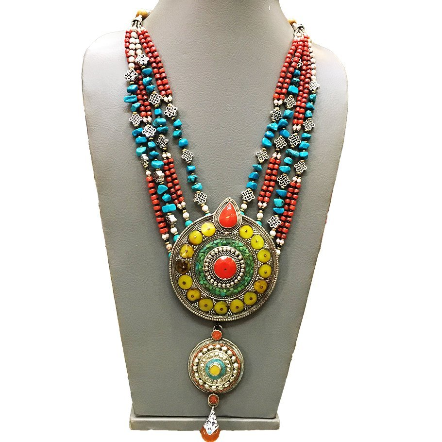 Nepalese Turquoise, Amber & Coral Gemstone Necklace