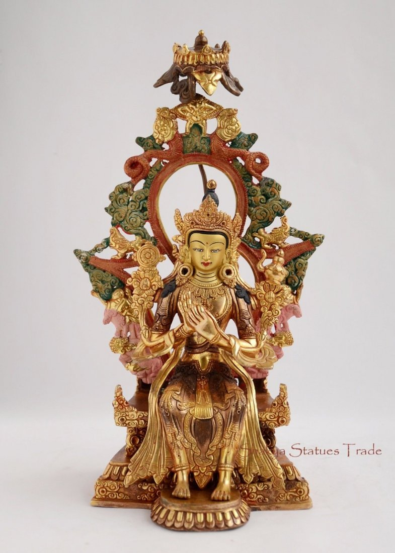 "Gold Gilded with Face Painted 11.75"" Maitreya Buddha"
