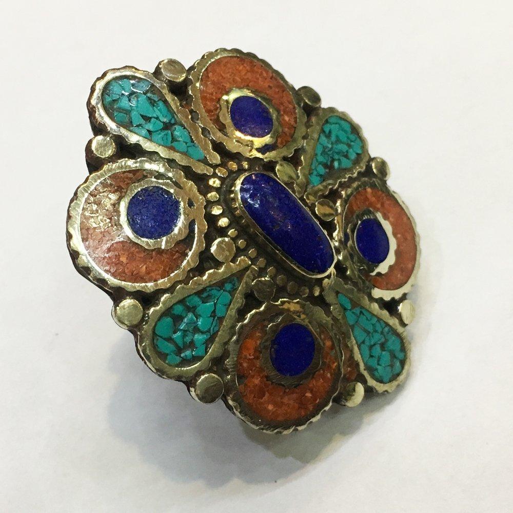 Vintage Tibetan Coral Turquoise Beaded Ring