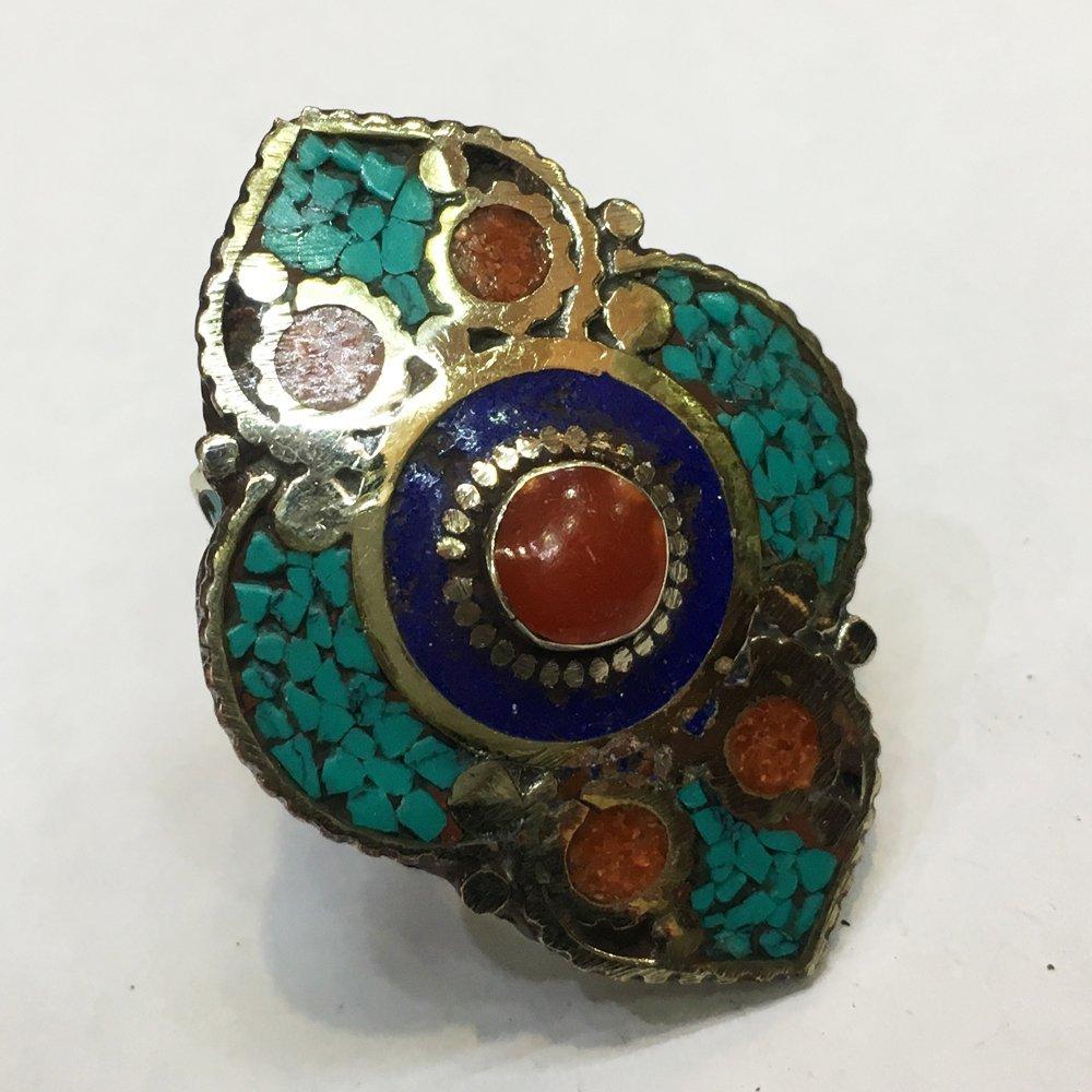Free Size Tibetan Turquoise & Coral Statement Ring
