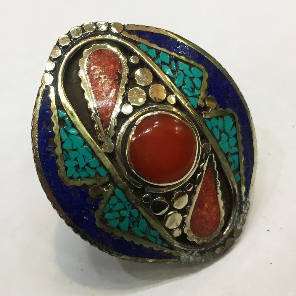 Free Size Turquoise & coral Tribal Bohemian Ring