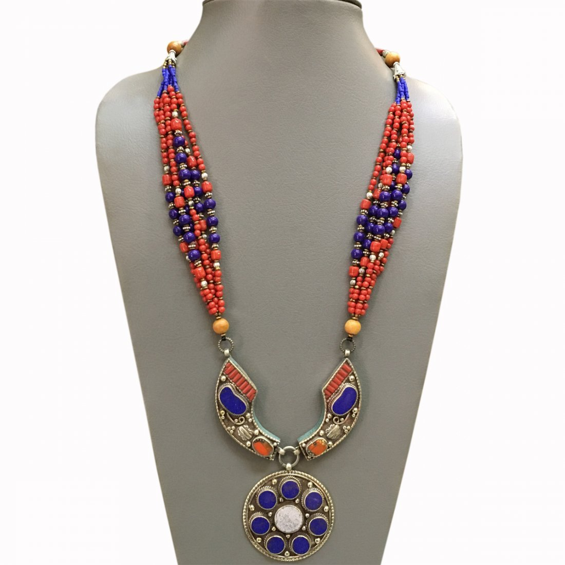 Old Vintage Lapis & Coral Tibetan Asian Necklace