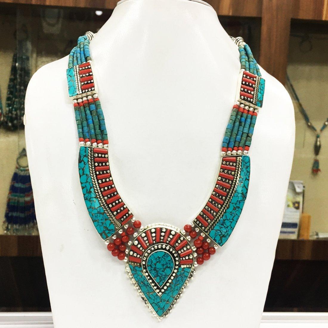 Ethnic Turquoise Bohemian Bib Necklace