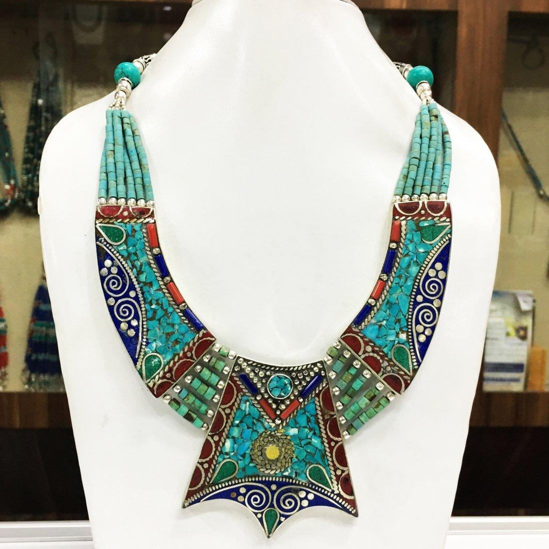 Fashion Banjara Turquoise Tibetan Silver Necklace