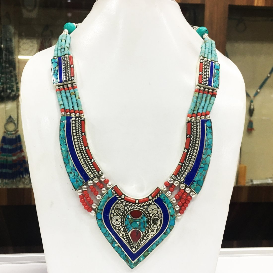 Traditional Turquoise Tibetan Silver Necklace