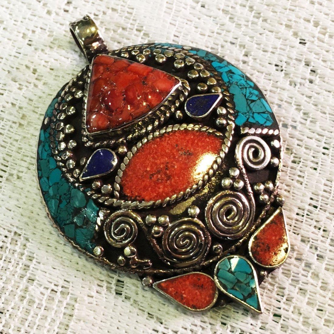Turquoise & Coral Vintage Tibetan Pendant
