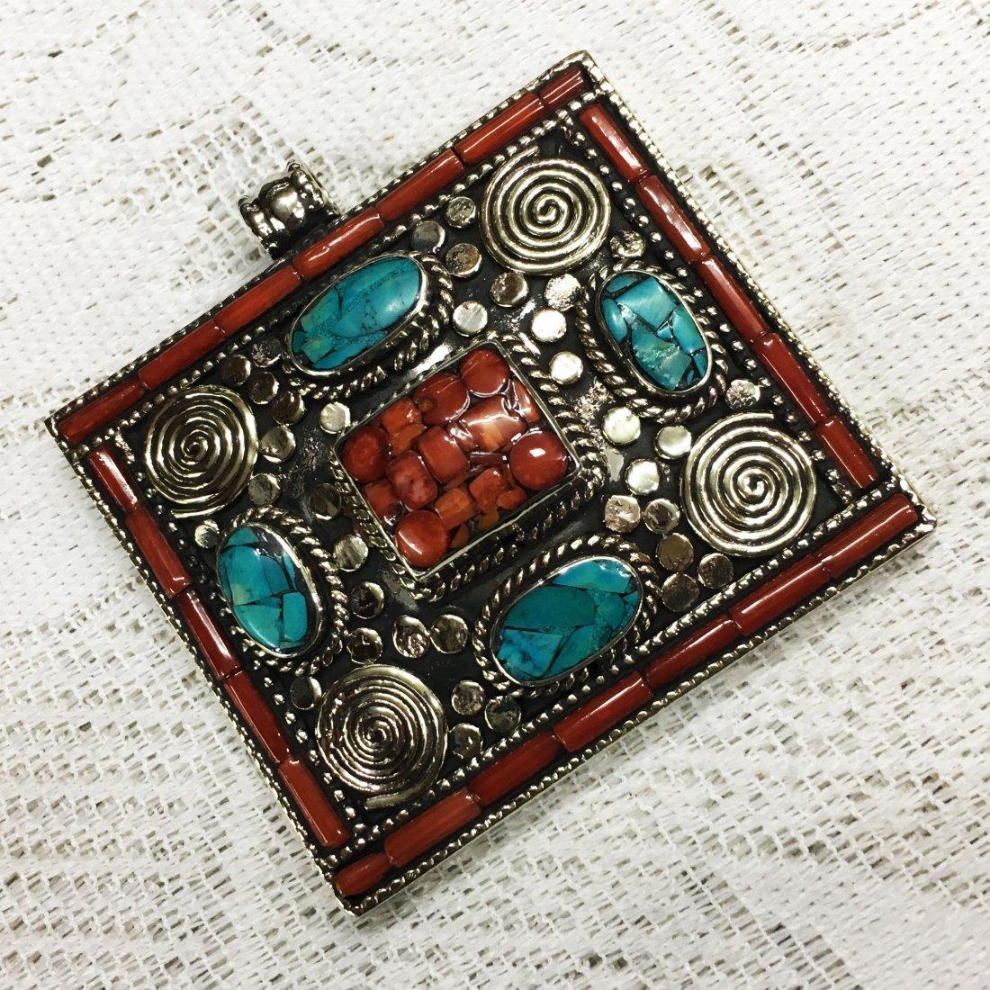 Tibetan Designer Turquoise & Coral Pendant