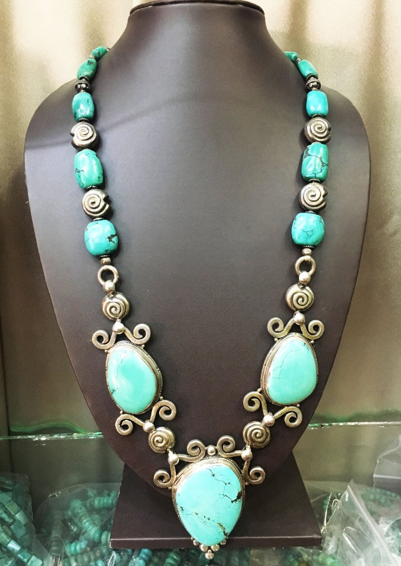 1900 Antique Tibetan Turquoise Sterling silver Necklace
