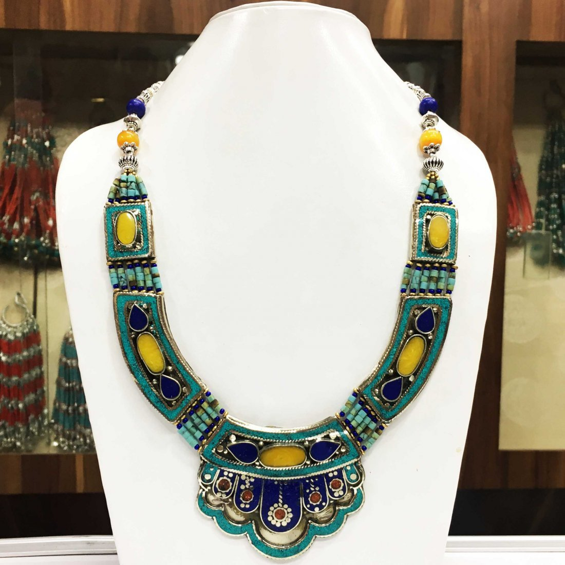 Tibetan Silver Handmade Ethnic Boho Amber Necklace