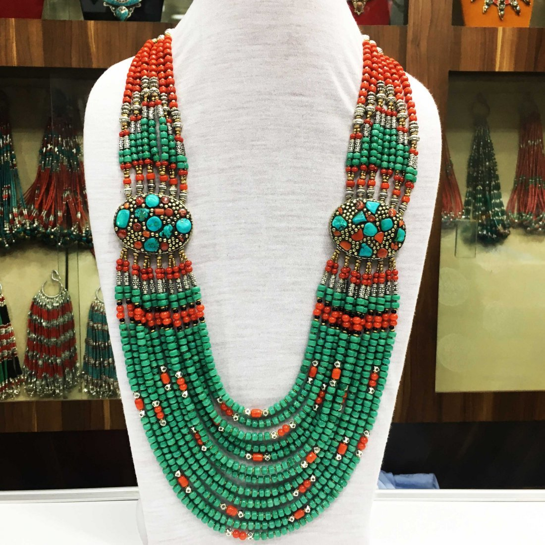 Handmade Tibetan Turquoise & Coral Necklace