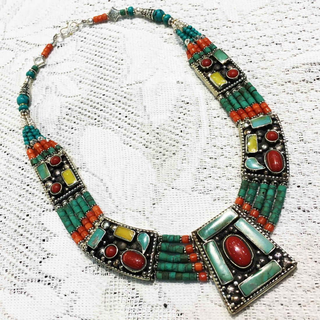 Turquoise & Coral Tibetan Handmade Necklace