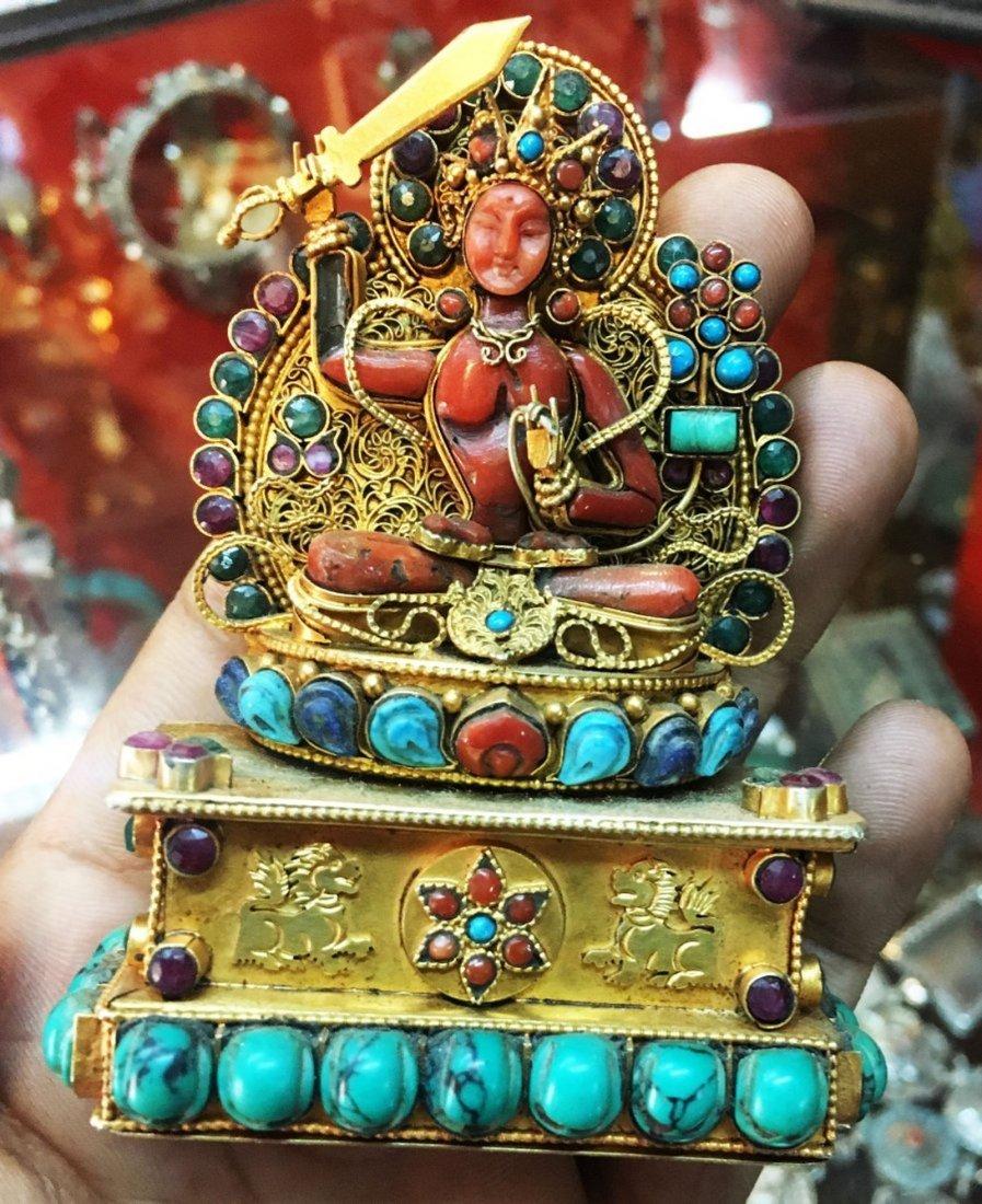 Manjushree Sterling Silver Ghau Tibetan Buddhist Prayer