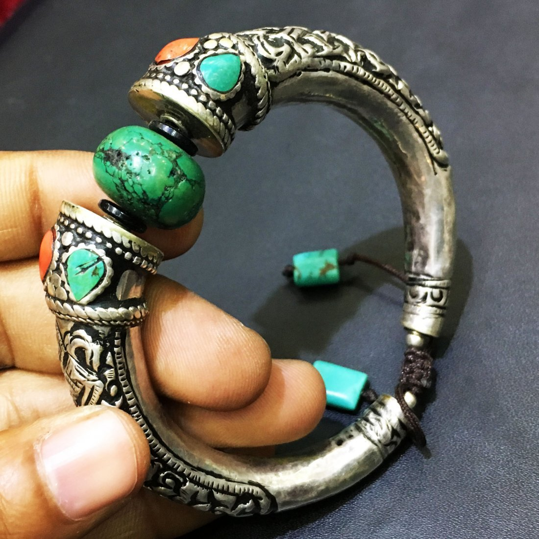 Turquoise 925 Sterling Silver Hand carving Bangle