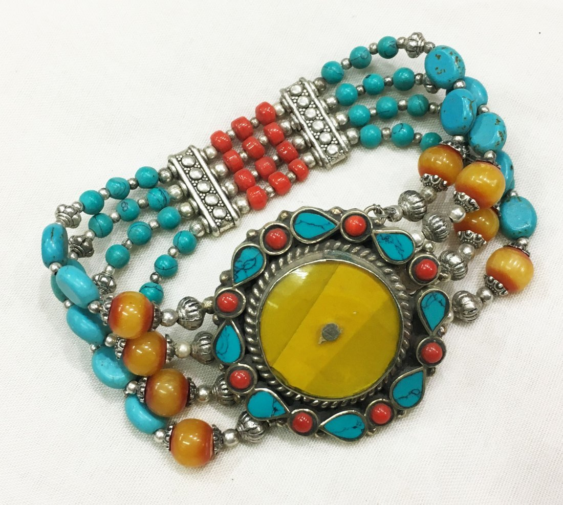 Nepal Natural Turquoise with Amber Beads Bracelet
