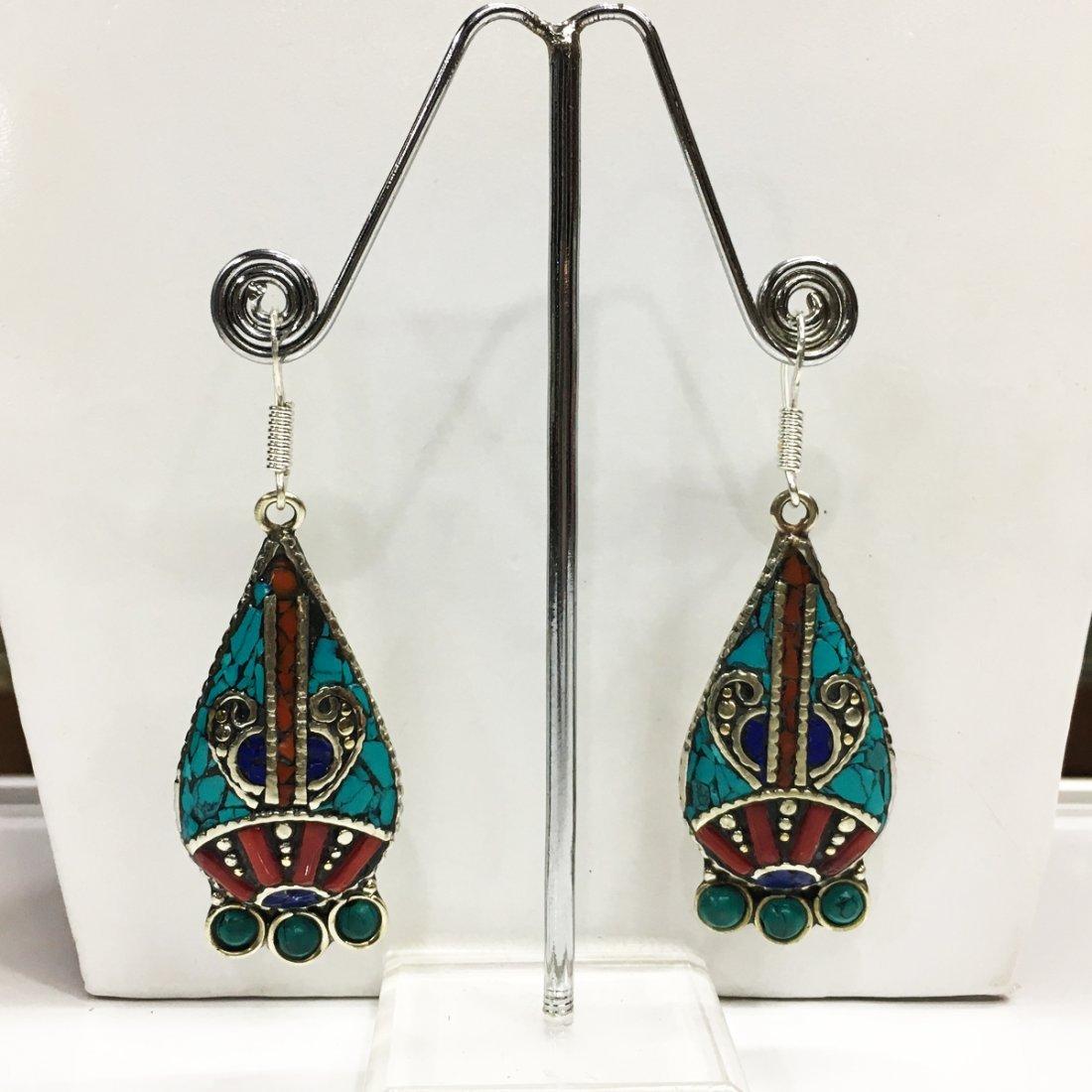 Tibetan Turquoise & Coral Tibetan silver Earring